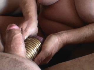 Fifth of 5 pictures showing me giving boyfriend a hand job and him cumming. Notice the 11 rings on his balls, now that is a handful of balls and steel. He wants to fuck me with those steel balls, should I let him? Would you watch that video?