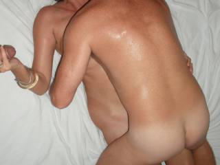 Fucked deep and hard by our swinger friend, whilst I play with my Hubby\'s lovely smooth thick cock.