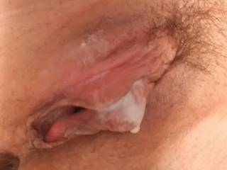 Made a creamy mess after playing with my favorite dildo. Wanna lick me clean?