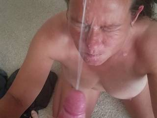 2nd shot of big facial. This cum went about 3 feet of so and made a mess on the mirror.