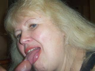 Granny and a drop of my cum on cock