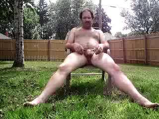 Out back jerking off.