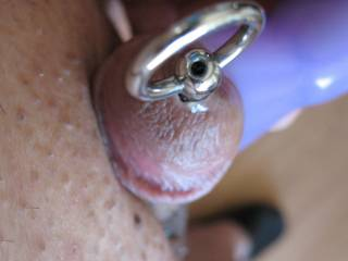 My cute little cock has something inside and he is trying to keep it there as long as he can.  Oh ho, there might be some precum there too.