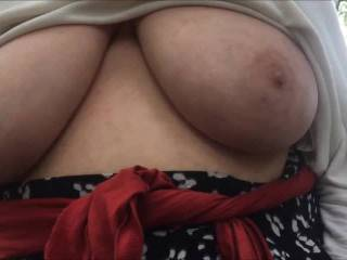 We now have moved to another location. Again I am below, looking up at a little of her tits that her white top is not covering - also her nipples are poking the fabric. I lift one side, then she takes over and lifts the other as well. Superb !