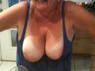 could you sit on my cock with them tits in my face so i can suck on them both as i,m fucking your juicy mature pussy for you