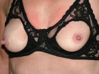 Mmm now there's an offer I can't refuse...I just love your boobs especially as their topped of with those long hard nipples...so wish I were standing naked before you rubbing my hard cock on them...i bet they would feel so good pressing against my cum hole...mmm to dream X