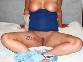 gee, if you had written 'zoig' on your yummy thigh using lipstick, you could have submitted this delicious photo for this month's theme, too!  (psssst, yeah, your pussy looks amazing)