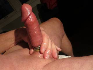 shaved smooth, put on cock rings, oiled up and got really hard