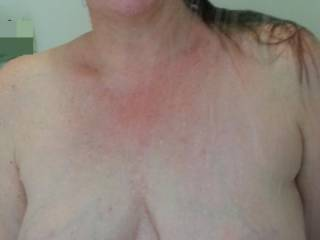 Heavy milk filled tits in the shower
