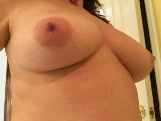 Big, bold tits with nice nipples.  She loves to have them sucked!