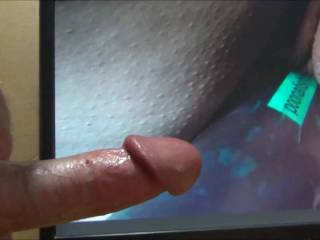 Jerking my hard throbbing dick while watching campingcunt slide my cock in her wet tasty pussy! Love her tribute!