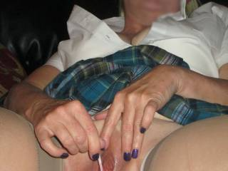 wife's school girl roll play is over, it's time to fuck and blow a load