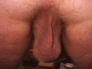A close-up of my sweaty cum-filled balls, hope you like!
