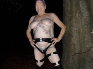 hi all I think you all know that I like going out in my leather gear, it is a turn on driving through the streets knowing I a dressed like this. hubby has started playing with my tits as cars drive by. dirty comments welcome mature couple