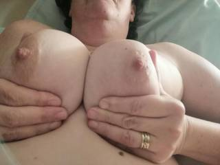 Looks like my titties are aiming for you men. Are you ready to shoot your load at me.??