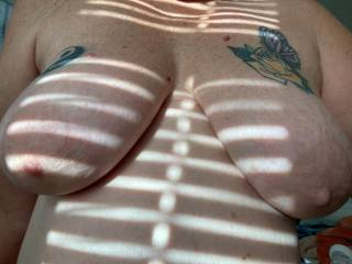 Morning sun comes in across these soft tits, who wants to cup squeeze and suckle on them for a bit? Love to be suckled and pulled daily