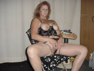 fantastic outfit love her tits and the way they are popping out to play...xx