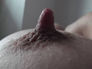 Wow! that is one amazing nipple..  I would love to wrap my lips around that..