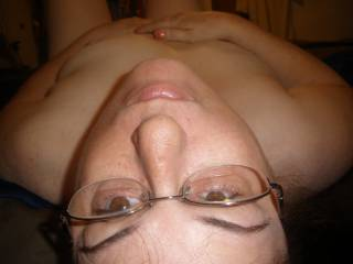 Would love to feel your mouth on my balls while I cum all over your tits!  But there is something really fun about cumming on your glasses...  oh, choices, choices!