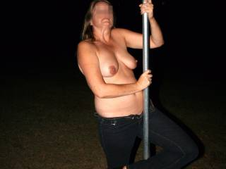 Fooling around in the back yard at night. This pole holds a bat house. It was night and the bats weren\'t home