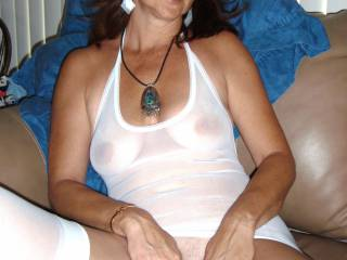 Cadni Annie in white lingerie spreads her pussy for all to see... you like?  Want to taste?