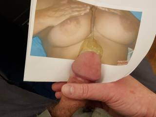 Hammerson wanted some cum on her nipples. I shot more, but the first load flew over the top of the picture!