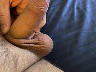 Getting hard and pulling foreskin tight always turns me on! Need a horny lady to get to grips with my little hard cock! Anyone want to feel and play with 6 inches?