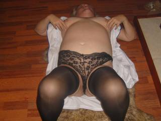 sandy in her sexy black lacy panties