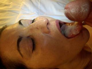 Nice mouthful of cum for Mia. She swallowed it too.