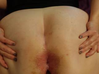 Slave L spreading wide for my hard cock.
