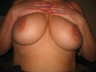 mmmm suggestion would be one tit each for hubby and I lick and suck those delightful nipples till make you cum then both wank over those tits covering them in loads of hot cum - would look wonderful i think. what do you reckon?