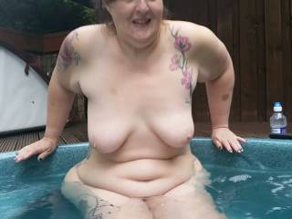 Mrs making her way in to the hot tub at the cabin we spent the weekend at.