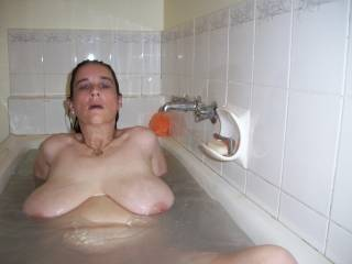very sexy pic, i would love to cum all over u'r big tits and face !