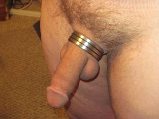 she bought me this cock ring for Valentines Day,semi hard here