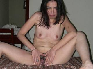 posing with wide open pussy