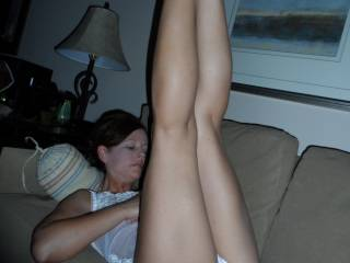 I'd luv to grab her ankles and push them back so I can eat that hot pussy of hers