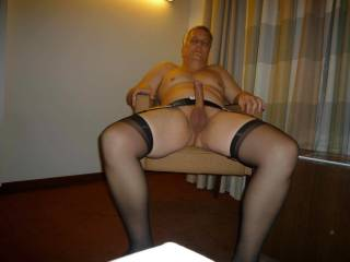 nice cock !! and love the nylons and garterbelt