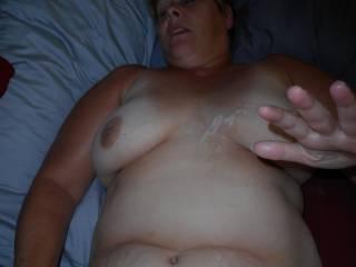 A cum shot on her tits
