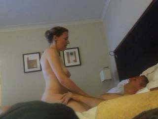 Amateur British couple enjoy a fun night of sex at a hotel.