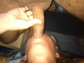 Milf sucking on the tip getting it ready for it to go down her throat