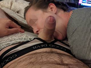 If she\'s sucking my balls...that leaves my cock wide open