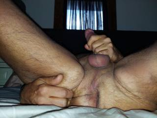 As I\'m jerking off do you want to.. A  tongue fuck me  B. Use a finger or 3  C. use one or more of my many prostate toys on me  D. All of the above