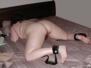 Hmm, toys, restraints, ass up, ready for a play time.