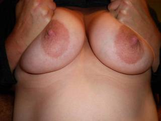 Lucky dude that gets to tit fuck those beauties.  Wish I could join you,