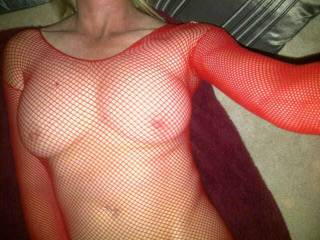 Modelling my new out fit that my husband bought for me.  Love the way it makes my breasts look and feel.  Do you like?