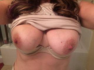Wonderful, really... And instant hard-on here!  I could slap those plump beauties with my hard cock like there's no tomorrow... And empty my huge set of full balls onto them. I would get you thoroughly splattered and drenched in hot cum, and that's a fact...  I wonder if you like the idea?