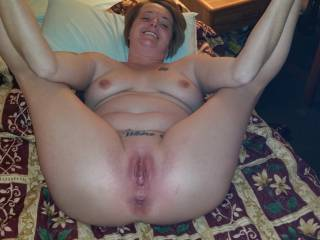 Isn't She gorgeous? So eager to have her pussy and asshole plowed deep and seeded. You really own her fuck holes and She and Her hubby know that.