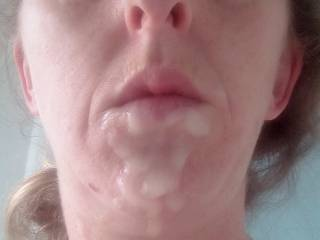 Another photo of Joanne\'s fb cum over her face