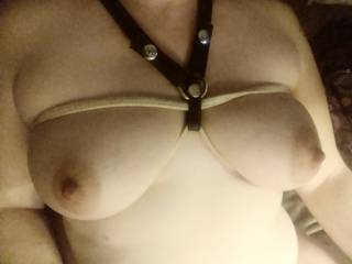 Leather, rope, those beautiful tits of hers. They go together like bacon and eggs, peanut butter and jelly, her ass on my face. Sorry got a little excited there I love those tits ( and ass.)