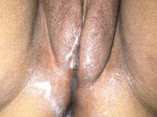 Creamy pussy full of cum after a good fucking